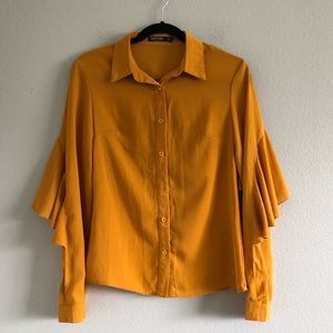 Nasty Gal Mustard Long Sleeve Button Down Sz 4